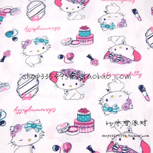 50*140cm Cartoon Lovely hello kitty 100% Cotton Fabric For Sewing Fat Quarter Quilting Patchwork Doll Kids Bedding Patchwork(China)