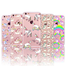 Cell Phone Cases for Iphone 5 5S SE New arrival Transparent Cute Unicorn soft silicone phone Cover(China)