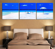 triptych home decoration Modular picture HD print canvas oil painting Child room Nordic Modern art Blue sky and white sandy beac