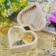 1pc Love Heart Shape Jewelry Box Wooden Storage Box Wood Crafts Packaging Carrying Cases Children Baby Kids Toys Art Home Decor