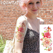 Red yellow roses flowers arm shoulder tattoo stickers flash henna tattoo fake waterproof temporary tattoos sticker women on body