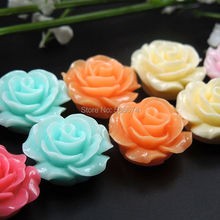 18mm mix color Mixed Color 20pcs Flat Back Resin Cabochon Scrapbook 3D Rose Flower Fit Phone Embellishmen diy beads for jewelry(China)
