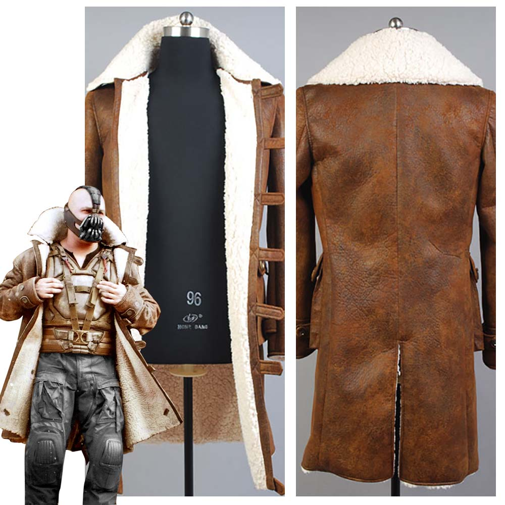 Batman Bane Dorrance Leather Trench Coat Movie Halloween Cosplay Costume Jacket Outfit Suit for Men Custom Made