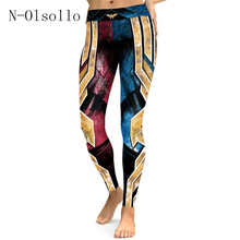 America Eur Heavy Metal 3D Wonder Women Printed High Waist Leggings Workout Train Bodybuilding Fitness Sporting Jegging Pants(China)