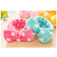 Bathroom Set Flannelette Bows Elastic Headband For Bath Shower Exercise Make Up Wash Face Cosmetic Women Hair Band Girls Yoga(China)