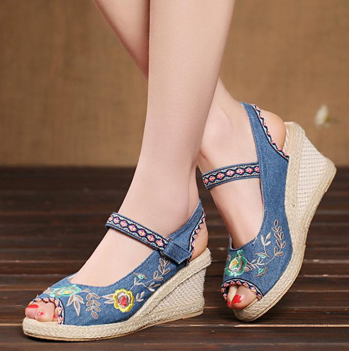Hot sell sexy pumps high heels size 34-40 Summer wedge sandals women shoes cozy Breathable casual shoes cloth shoes<br>