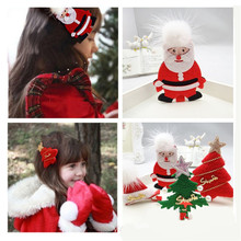 4PCS Lovely Girl Children Hair Clip Christmas Gift Girls Hairpin Santa Claus Xmas Tree Hat Hair Clip Kids Star