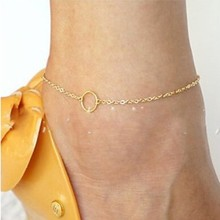 Sexy Women Round Circle Gold Ankle Chain Anklet Bracelet Foot Jewelry Sandal Beach Jewelry Simple Foot Chain tornozeleira