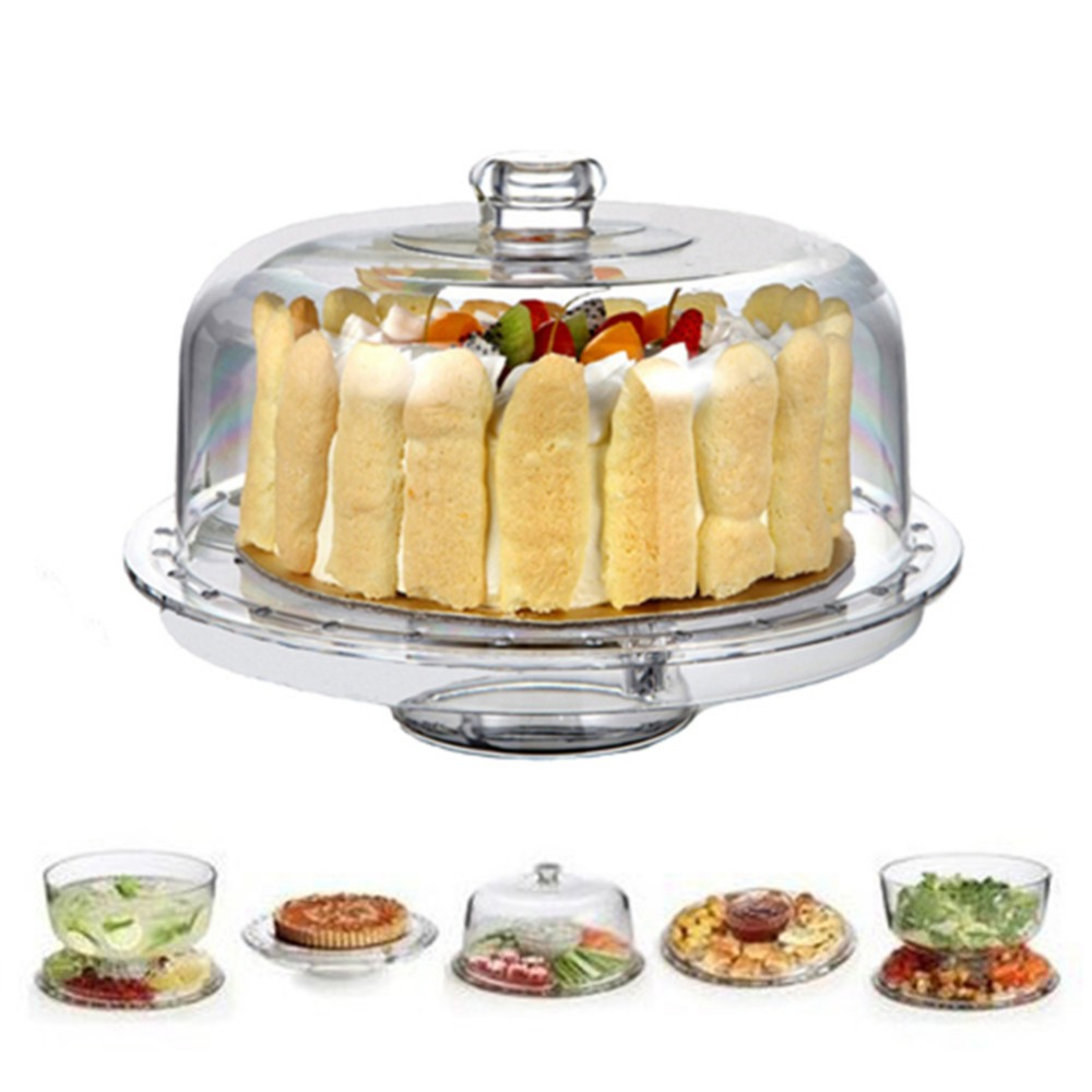 HABIBEE 6-in-1 Acrylic Cake Stand Multifunctional Serving Platter and Cake Plate With Dome (6-in-1 Cake Dome)(China)