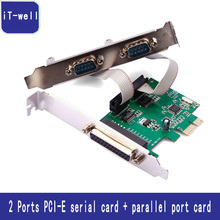2 PORTS RS-232 Serial Port COM & DB25 Printer Parallel Port LPT to PCI-E PCI Express Card Adapter Converter WCH382 Chip DB9 DB25(China)