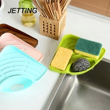JETTING Kitchen Sink Corner Storage Rack Sponge Holder Wall Mounted Dishes drip rack Soap Dish Wall Storage Rack Bathroom Shelve(China)