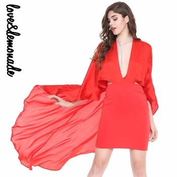 Love&Lemonade  Sexy Cut Out V Collar Cloak Dress Red/Whte TB 10020