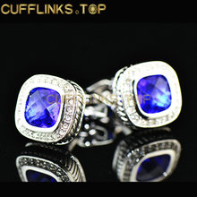 100Pairs/lot Square blue High End white High End Cufflinks crystal cufflinks factory direct wholesale zircon cufflinks cuff fact(China)