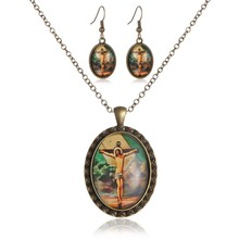 New Jesus Photo Jewerly Sets cross Stainless Steel Necklaces And Earring Necklace/Earrings For Women Girl Christmas Gifts