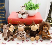 5pcs/lot Free Shipping Zero Profit Germany Nici Jungle Brother Tiger Elephant Monkey Lion Giraffe Plush Animal Toy 15cm(China)