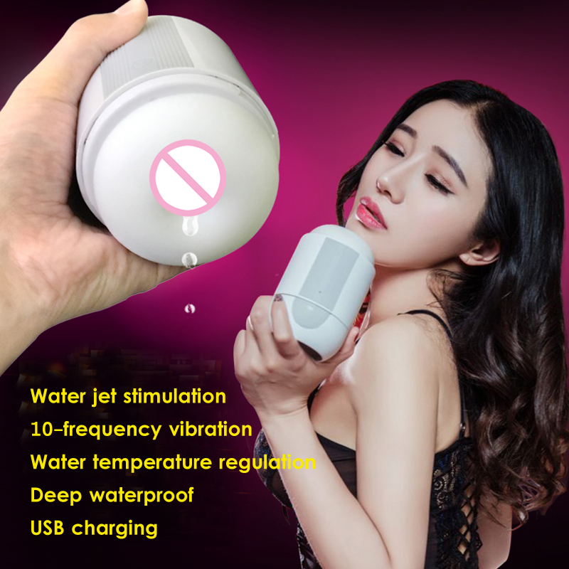 5D Realistic Water jet stimulation male Masturbation, temperature regulation Silicone Vagina Pussy for Man Adult Sex Toys<br>
