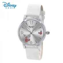 Disney Watch Women Luxury Fashion Leather Strap Mickey Mouse Pink White Relogio Feminino Ladies Womens Wristwatch Mickey Mulher