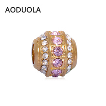 2Pcs Lot Stainless Steel Square Gold color with Pink CZ Beads DIY Big Hole Bead for Jewelry Making Fit For Pandora Bracelet
