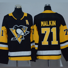 2017 Mens #71 Evgeni Malkin Black white Throwback Embroidery Hockey Jerseys High Quality(China)