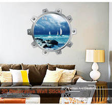 Round 3D DIY decor wall sticker Under sea Fish Beach Fish design living room decal stickers sticking 3D 50*50cm drop ship