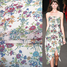 "Floral style rose lily petunias print Silk Crepe Georgette silk fabric 11momme 55"" Width by yard,SCG061(China)"