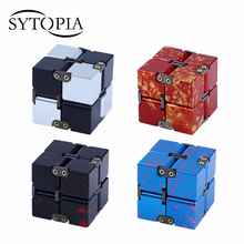 Premium Metal Infinity Cube Fidget Toy Beautiful Deformation Magical Infinite Cube Fidget Toys Stress Reliever for EDC Anxiety(China)