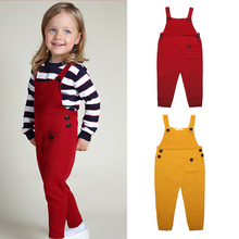 Autumn Overalls Children Baby Suspender Pocket Pant Solid Cute Baby Boys Girls Overalls Fashion Pants Trousers Jumpsuit Kids