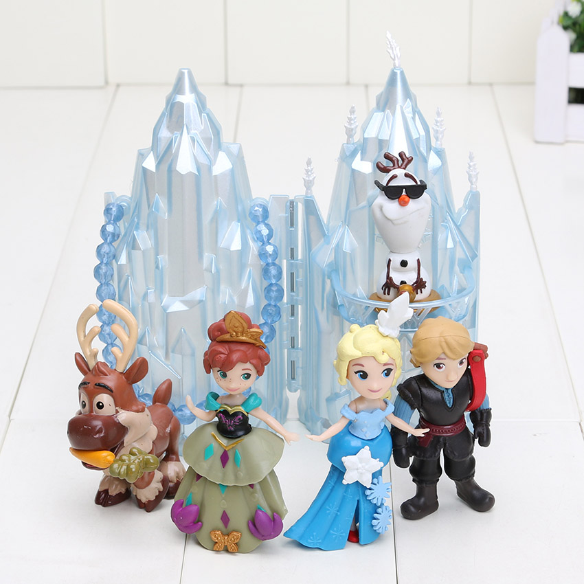 6Pcs/lot Ice Princess Castle Ice Palace Throne Play Set PVC Action Figure Model Toys Doll(China)
