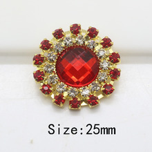 Top quality 10pc 25MM Round buttons rhinestone button tray cap setting ruby embelishment flatback gold button wedding decoration