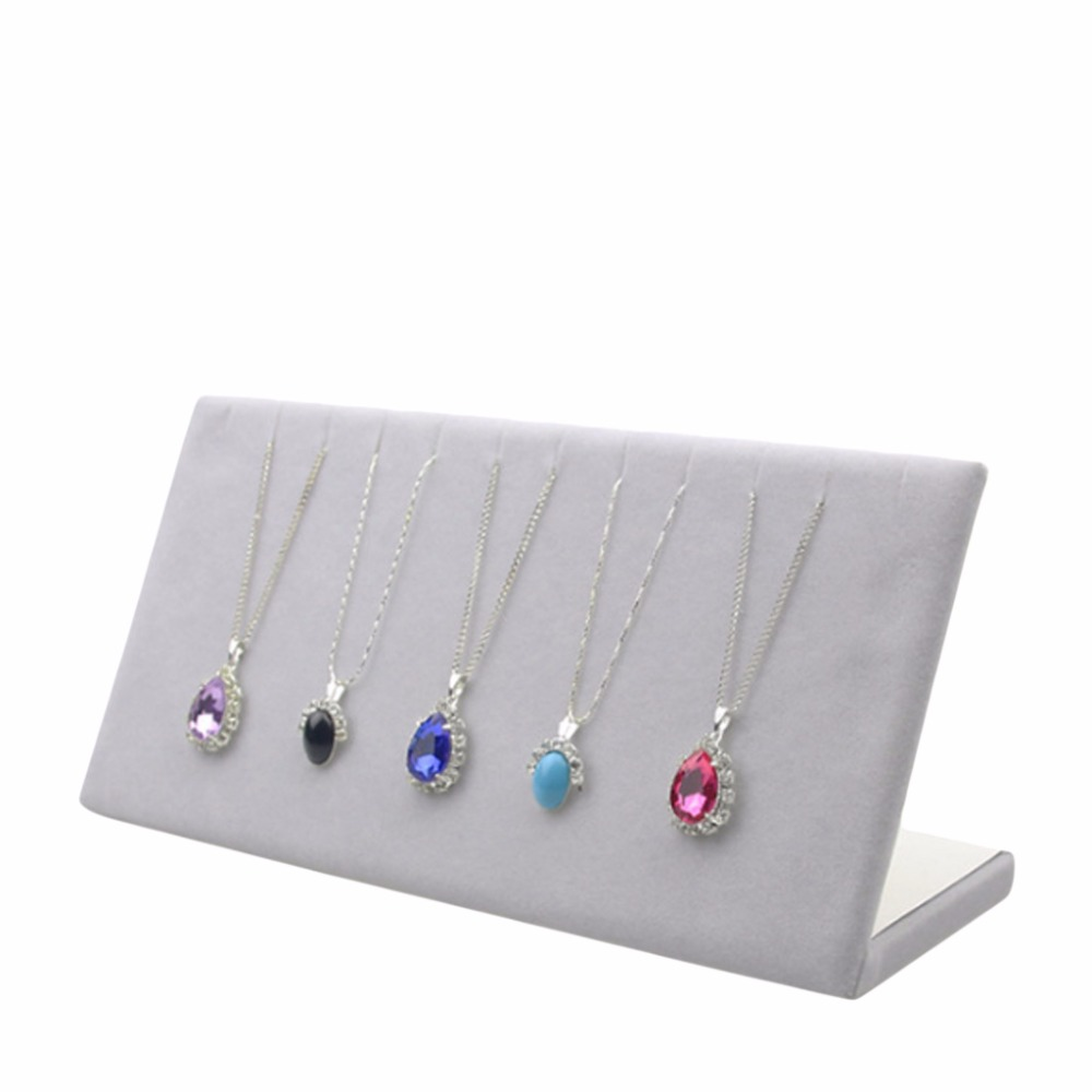 Velvet Necklace Chain Bracelet Display L Stand Board Jewelry Holder Rack -W2 10(China)