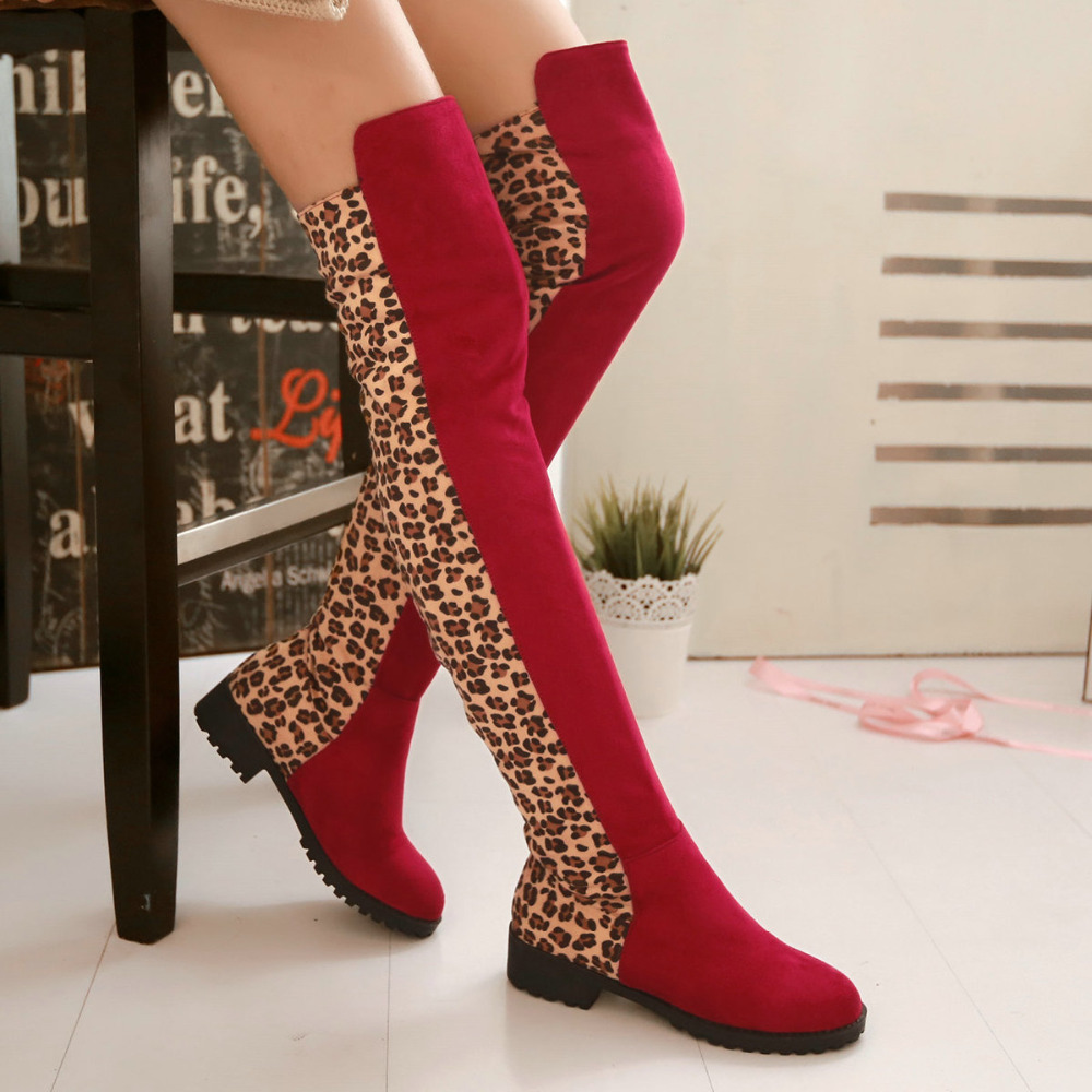shoes woman Black Red Women Knee High Boots Leopard  Flat Shoes zapatos mujer Winter Boots Snow Boots Botas Shoes Knee Boots<br><br>Aliexpress