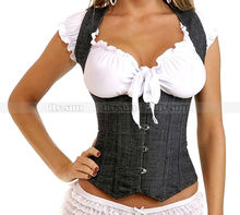 Sexy Demin Full Back Boned Corset Vest Lace Up Bustier Steel Busk Basque S M L XL 2XL(China)