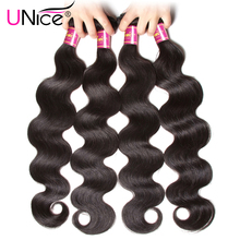 UNice Hair 7A Indian Virgin Hair Body Wave 8''-30'' Natural Color Indian Body Wave Human Hair Extension Virgin Indian Hair Weave