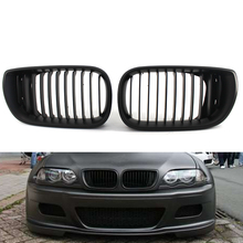 Front Grille 02-05 3 Series 4 Door Matte Kidney Style Black For BMW E46