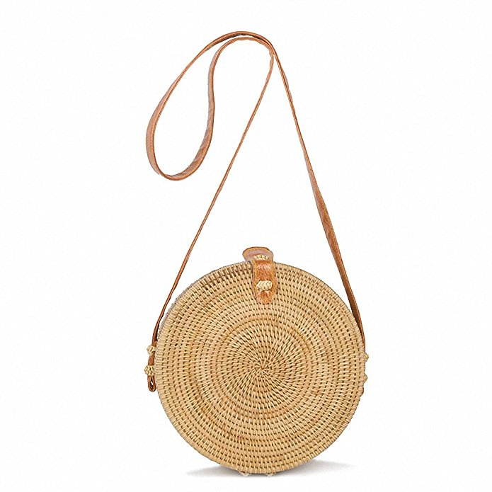 ZHIERNA  Bali Vintage Handmade Crossbody Leather Bag Round Straw Beach Bag Girls Circle Rattan bag Small Bohemian Shoulder bag <br>