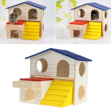 Wooden Hamster Rat House Hamster Supplies Pet Small Animal Rabbit Mouse Hideout Luxury Home 2 Storey Platform Playhouse Nest YX#(China)