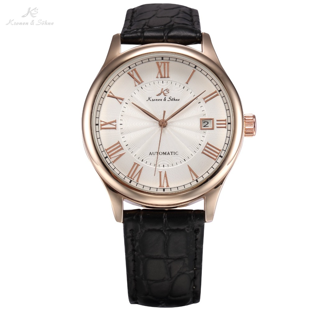 KS Calendar Date Display Rose Gold Case Relogio Masculino Leather Band Analog Automatic Mechanical Mens Casual Wristwatch /KS243<br>
