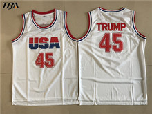 2017 TBA Donald Trump 45 USA Basketball Jersey 2016 Commemorative Edition White For Free Shipping S M L XL XXL XXXL