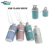 Newest Pendrive Usb Flash Drive U disk Pen drive 32GB 16GB 8GB 4GB Diamond Crystal Necklace Memory stick flash card Girl Gift(China)