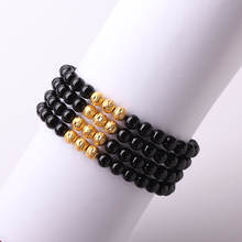 Natural Black Onyx Onyx Bracelet 6mm Beads Gold Semi Preicous Stone Crystal Beads Women Unisex Jewelry Christmas Gifts(China)