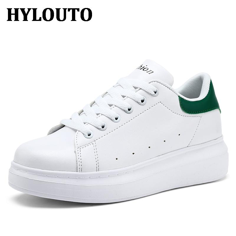 2017 Spring Platform Shoes Woman Casual Female Casual Shoes Womens White Black Colors Elevator PU Shoes Womens Flats 605<br><br>Aliexpress