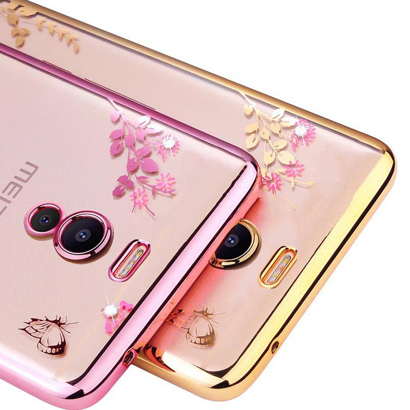 Silicone Meizu M6 Note Case 5.5 Glitter Flower Bling Diamond Clear Back Phone Cases Meizu M6 Note Cover Soft M6Note
