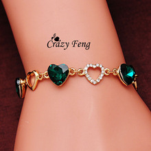 Free shipping Fashion Charm Bracelet Gold Color Chain Link Crystal Chain Heart Lover Bracelets Bangles For Women Jewelry Gift