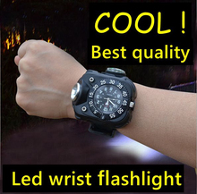 led rechargeable hand lamp military police Watches waterproof Wrist wearable flashlight for Outdoor Running Climbing