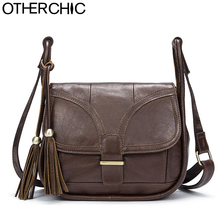 OTHERCHIC Women Vintage Crossbody Bag Genuine Leather Satchel Women Brand Women Handbag Tassel Messenger Bags Designer 7N05-18
