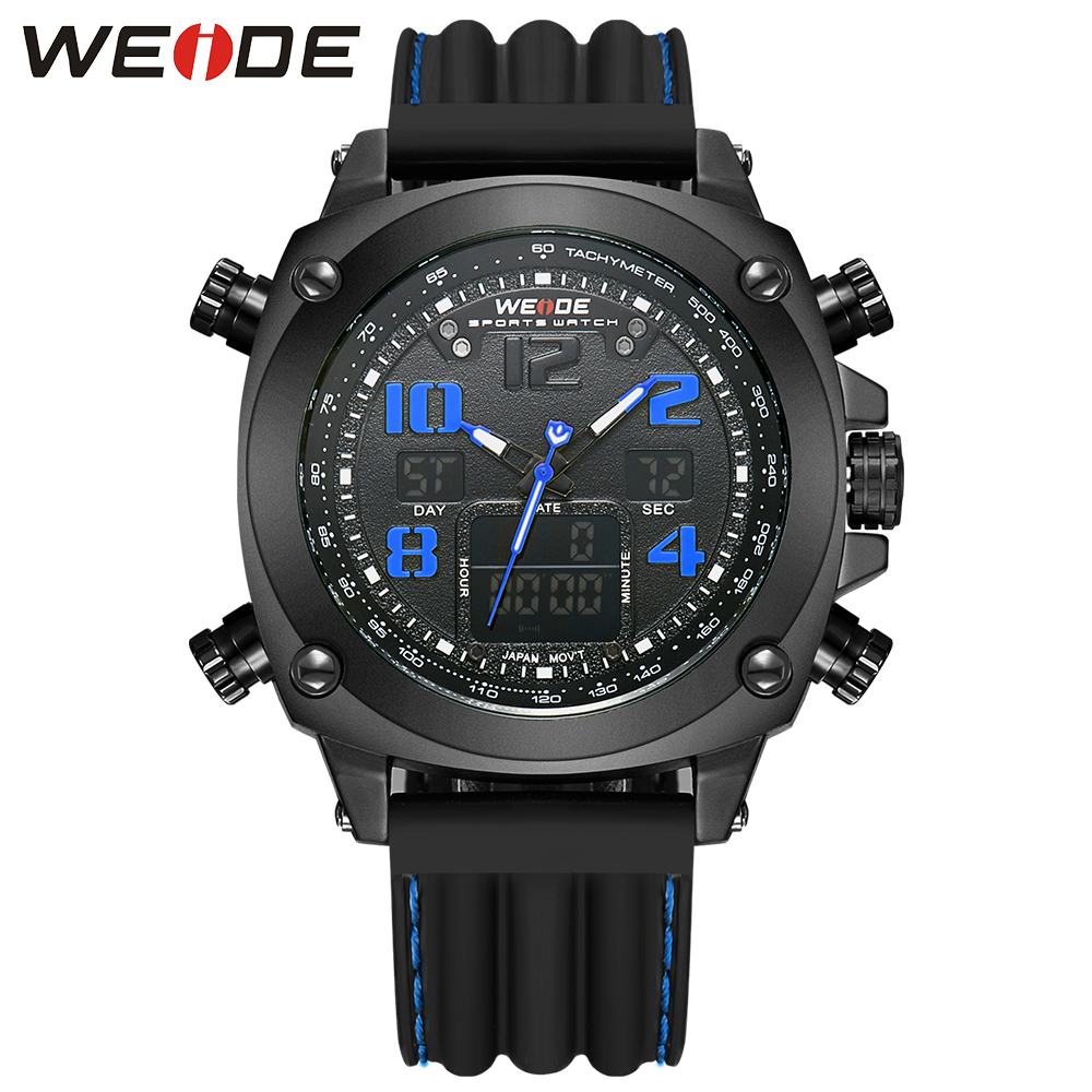 WEIDE Luxury Brand Sport Mens Watches 3ATM Water Resistant Analog Digital Display Back Light Silicone Strap Watches Alarm<br>