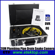 Pipeline Wall Drain Inspection Camera System With 20m Cable.Pipe Snake Camera W' 7'' Monitor DVR Recorder,Drain Sewer Camera