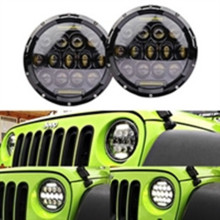 "2PCS X Black Bezel 75w High Power 7"" Round LED Headlights w/DRL and High/Low Beam For J eep Wrangler CJ 7"" Round shape headlamps"