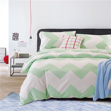 Medusa Luxury 40s cotton sateen chevron green Bedding set doona/duvet cover flat sheet pillow cases 4pcs/king/queen size