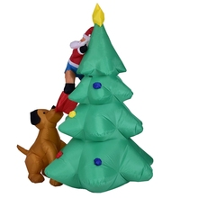 6 Feet Inflatable Christmas Tree with Santa Chased by Dog for Yard, Home or House Holiday Decoration In/Outdoor
